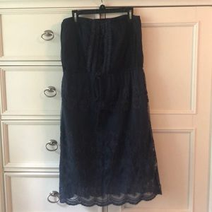 Women's Flying Tomato Strapless Blue Lace Dress